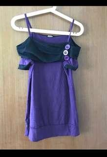 🛍 Purple Spaghetti Off Shoulder Top with buttons