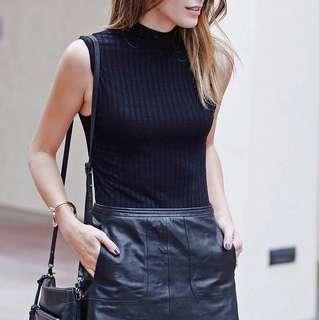 New Look Black Ribbed Tank Top Turtleneck