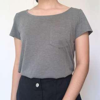H&M T-Shirt Kaos Tee Misty Olive Hijau Army