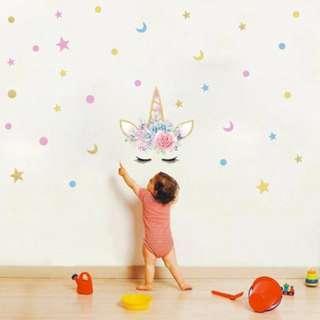 🚚 Eyelash Unicorn Wall Sticker Stars
