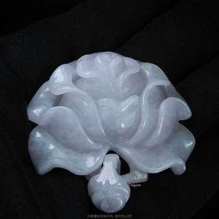 🚚 珍珠林~僅此一組~純手工打造~A貨天然冰種紫羅蘭翡翠山茶花玉墬#872