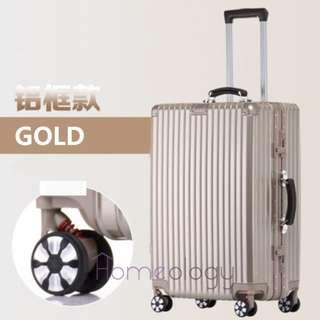5 Sizes! Gold 20-29 Inch Travel Aluminum Alloy Frame Luggage Bag Suitcase TSA Lock
