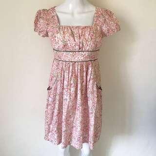 Dress Babydoll Motif Batik Pink