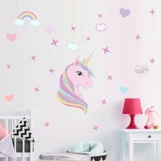 🚚 Rainbow Unicorn Wall Sticker For Room Decor