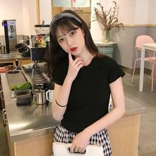 PO: Whaley's ribbed ruffle sleeve top (Korean Fashion) (Black)