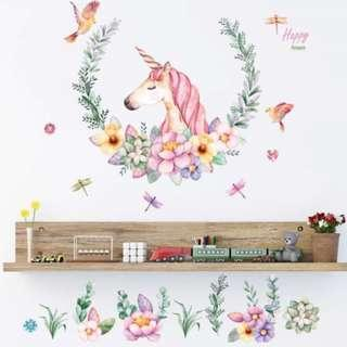 🚚 Unicorn Horse Head Wall Sticker - Pastel Color Style