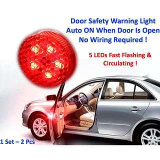 Car Door Warning Lights Safety 5 LED Light Signal Flashing Lamps Universal for Auto Decoration
