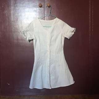 Cream linen button down dress