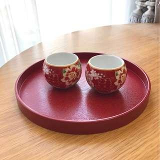 木製杯盤(紅色)