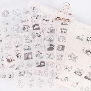 Spoiled Rabbit Black and White Clear Stickers