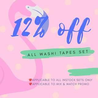 SALE! 12% off washi tapes sets! ✌