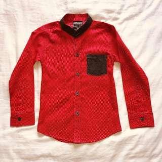 Red Polkadot Mandarin Collar Shirt