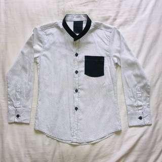 White Polkadot Mandarin Collar Shirt