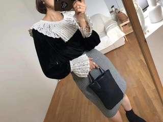 🚚 韓國毛絨蕾絲造型上衣