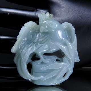 🚚 珍珠林~ 超值珍品特請師傅精雕 A貨緬甸紫羅蘭簍空雕刻玉珮~英勇威武~手到擒來#869