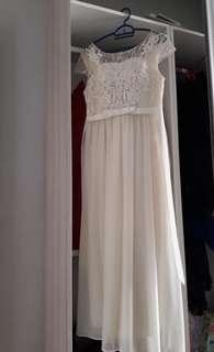 Elegant Cream Lacey Long Dress (Dinner gown/Prom dress) #MY1212