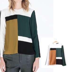 #MY1212 Inspired ZARA Colourblock Top