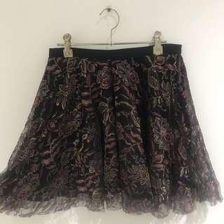 Metallic Floral Skirt Size 10