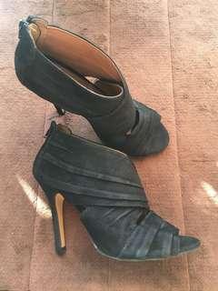 h&m suede black high heels