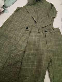 Vest dan pants set plaid brown
