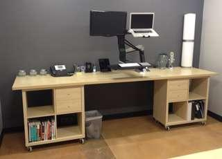 Ikea Study Table combo kallax and linnmon top