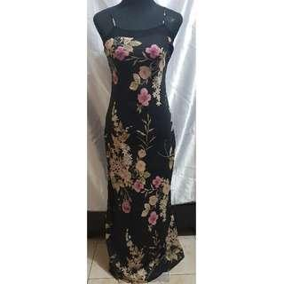 Preloved Floral Print Maxi Dress (Size Details on Description)