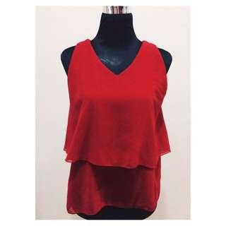 Brand New Double Layer Red Sleeveless