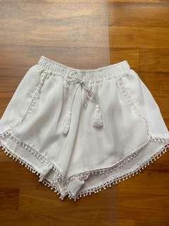 White bohemian shorts