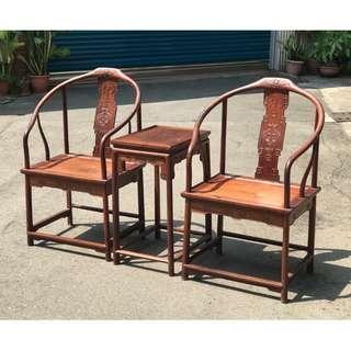 【景徽軒古傢俬】~~~ (近代) 酸枝木廣式圈椅組 三件套 K803