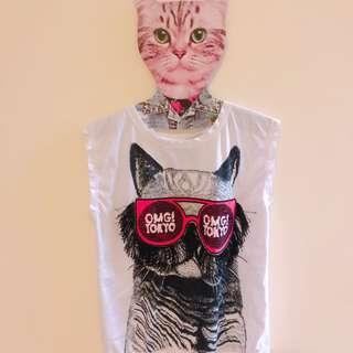 🚚 立體貓咪搖滾背心短袖