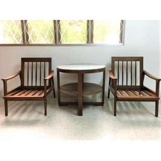 Vintage Mid-Century Burmese Teak Wood Arm Chair Set