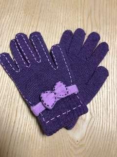 女裝紫色蝴蝶結手套