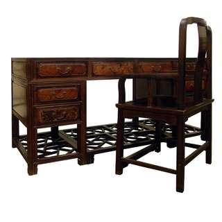 【景徽軒古傢俬】~~~(早期) 酸枝鑲嵌癭木八抽擱台 書桌 K540