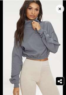 PLT Grey Rib Front Long Sleeve Sweater