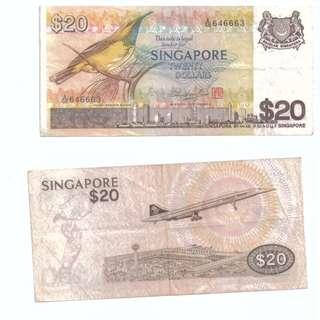 Singapore $20 Banknote Bird series VF