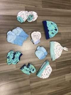 Newborn mittens booties caps (assorted)