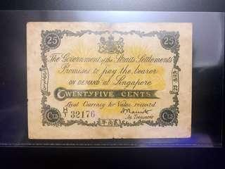 Scarce Straits Settlements 1917 25 cents. selling Singapore & Malaysia banknotes