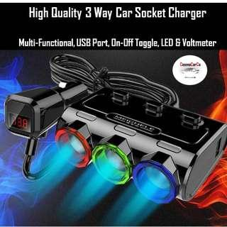3 way car socket charger w Switch w LED w Voltmeter 3.1A + Cigarette Lighter Splitter for iPhone, iPad, Android Samsung, Dashcam, GPS In Stock