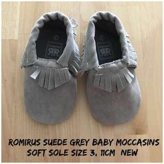 Romirus Moccasins Suede Grey Baby Shoes #MY1212
