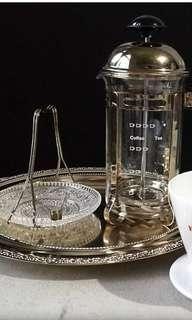 Coffee press set with tray and saucer for suger