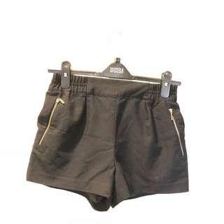 Black gartered shorts