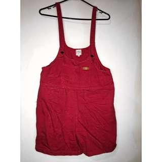 Red denim overalls