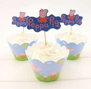 6pc Peppa Pig Cupcake Holder with Side Cover