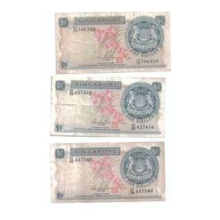 Singapore $1 Banknote Orchid series   3pcs VF 1967