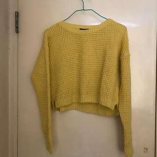 Topshop Yellow Cropped Sweater