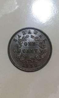1930H  Sarawak 1 cents copper coins