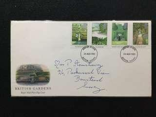 1983 Great Britain British Gardens FDC  (Note: Top Right Edge Creased)#MY1212