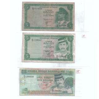 Brunei $5 Banknote 3pcs 1967 1984 1991