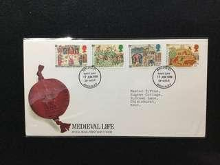 1986 Great Britain Medieval Life - 900th Anniversary Of  Domesday Book FDC  (Note: Flap Stuck Inside Description Card)#MY1212