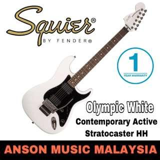 Squier Contemporary Active Stratocaster HH Electric Guitar, Olympic White